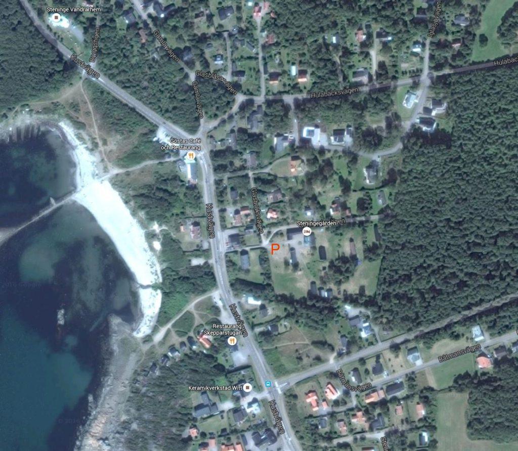 karta Steninge P-plats vid Strandgården